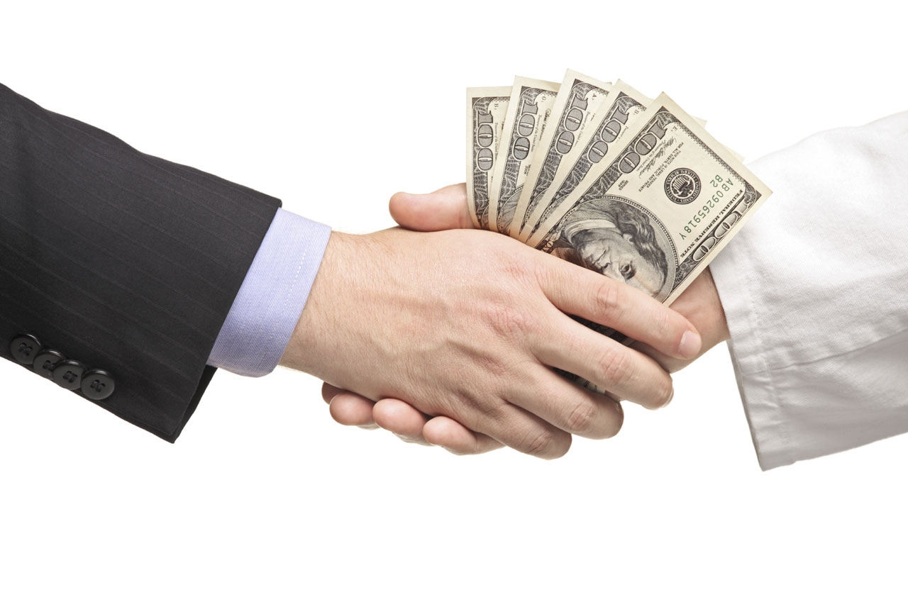 shake hand with money